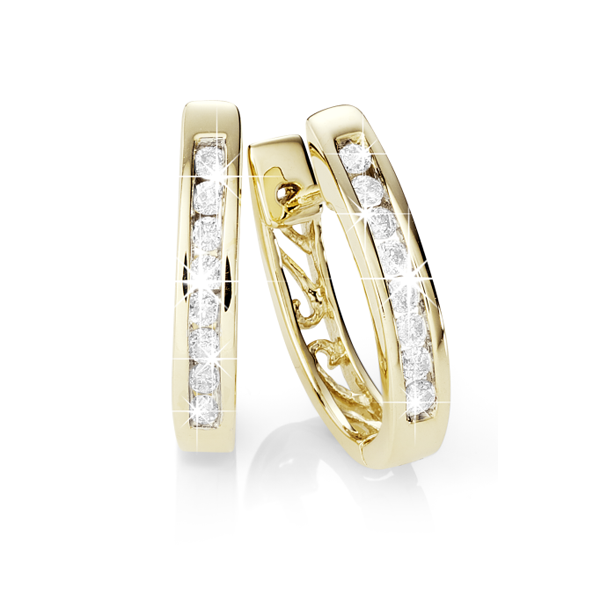 9Ct Yellow Gold 0.25Ct Diamond Huggie Earrings