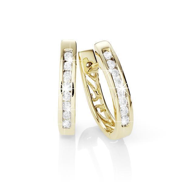 9Ct Yellow Gold 0.50Ct Channel Set Diamond Huggie Earrings