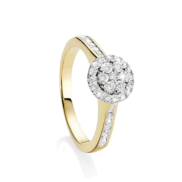 9Ct Yellow Gold 0.50Ct Diamond Halo Cluster Ring
