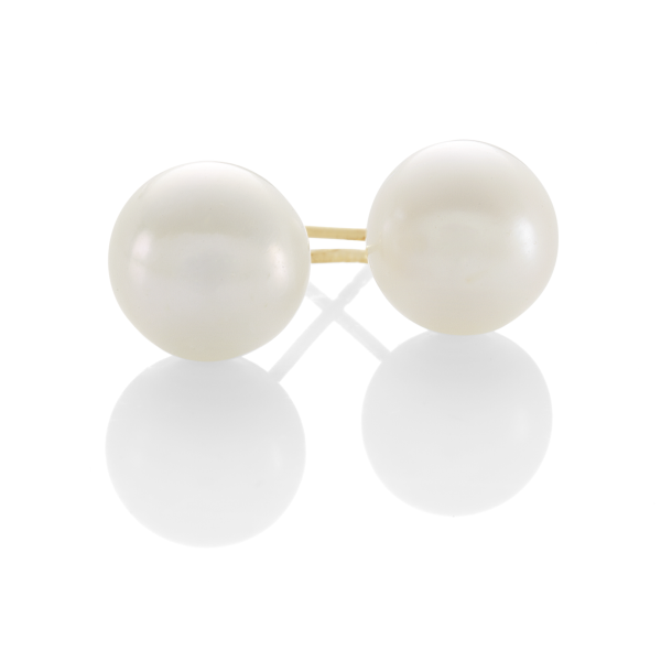 9Ct Yellow Gold 8Mm Cultured Freshwater Pearl Earrings