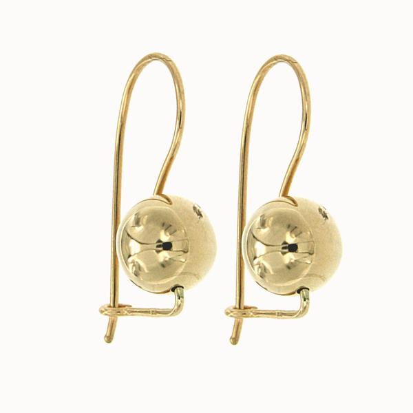 9ct Yellow Gold 8Mm Euroball Earrings