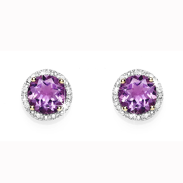 9Ct Yellow Gold Amethyst & Diamond Halo Stud Earrings