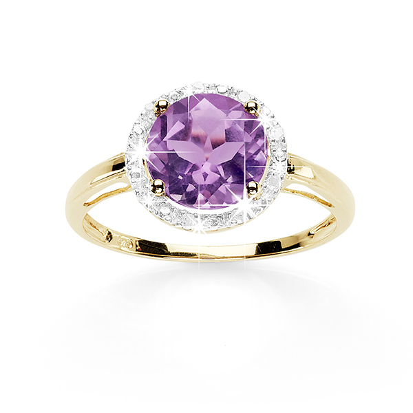 9Ct Yellow Gold Amethyst & Diamond Halo Ring