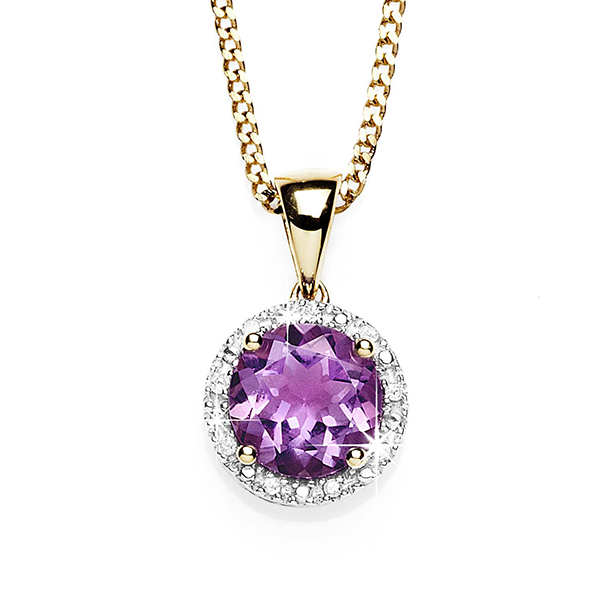 9Ct Yellow Gold Amethyst & Diamond Halo Pendant