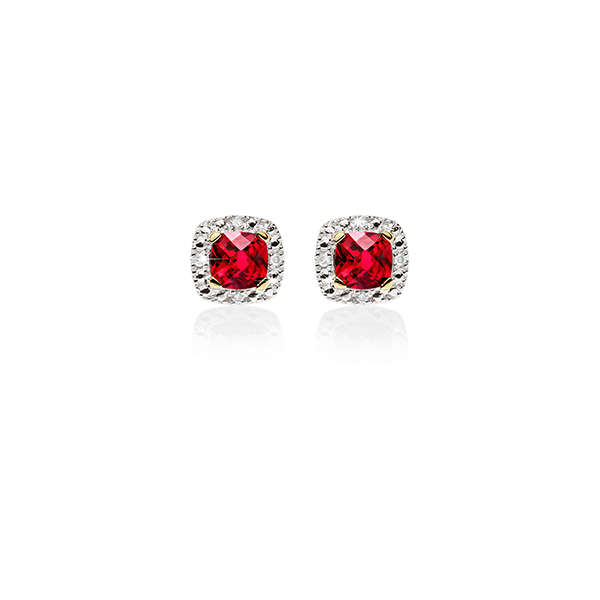 9Ct Yellow Gold Created Ruby & Diamond Cushion Shaped Halo Stud Earrings