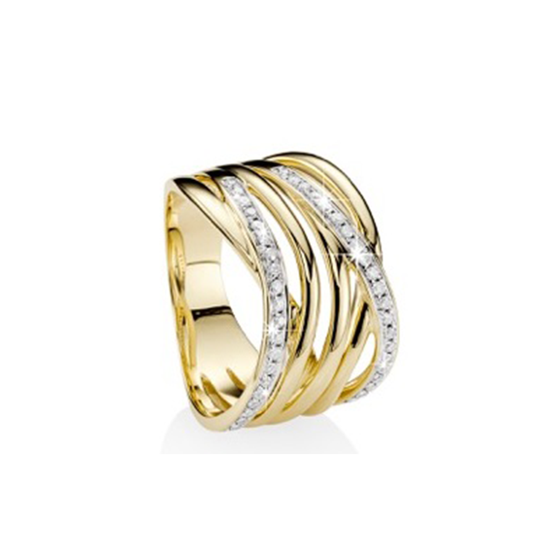 9Ct Yellow Gold 0.30Ct Diamond Ribbon Crossover Ring