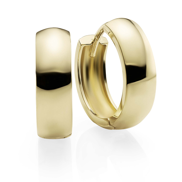 9Ct Yellow Gold Gold 4Mm Polished Huggie Earrings