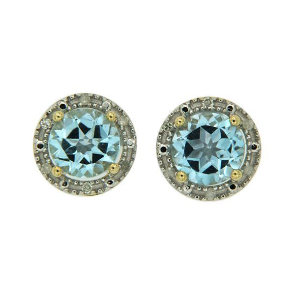 9Ct Yellow Gold Blue Topaz & Diamond Halo Stud Earrings