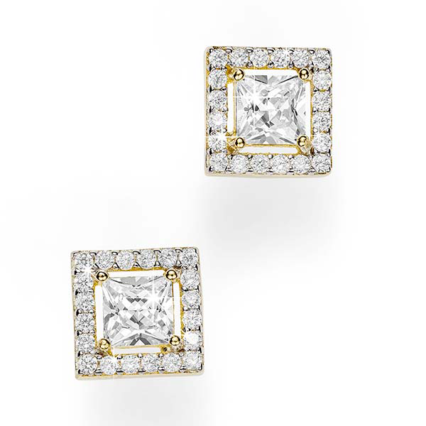 9Ct Yellow Gold Princess Cut Cubic Zirconia Earrings