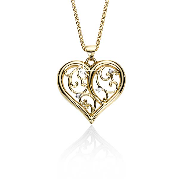 9Ct Yellow Gold Diamond Set Filigree Heart Pendant