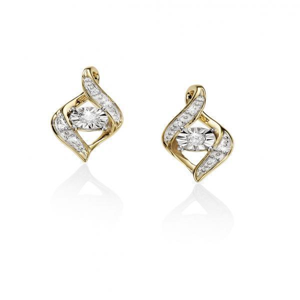 9Ct Yellow Gold Diamond Set Stud Earrings