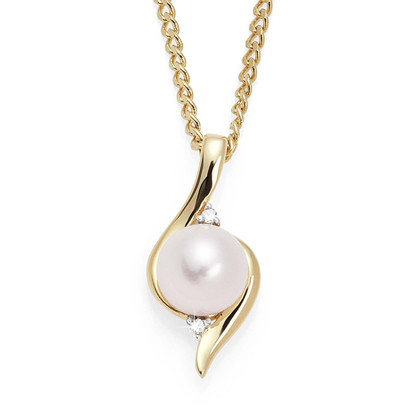 9Ct Yellow Gold Freshwater Pearl & Diamond Pendant