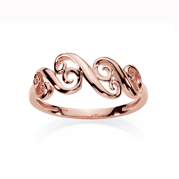9Ct Rose Gold Swirl Ring