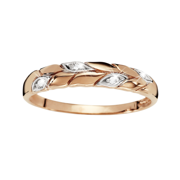 9Ct Rose Gold Diamond Leaf Ring