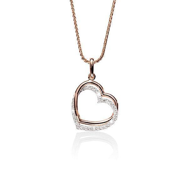 9Ct Rose & White Gold Double Heart Cubic Zirconia Pendant
