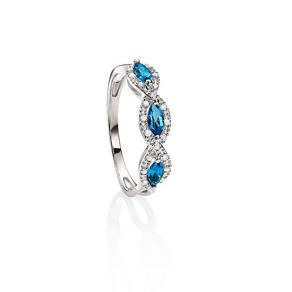 9Ct White Gold London Blue Topaz & Diamond Halo Ring