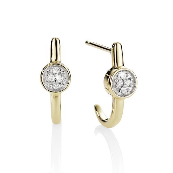 9Ct Yellow Gold Diamond Huggie Earrings