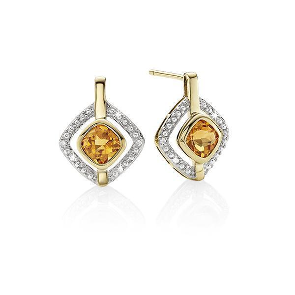 9Ct Yellow Gold Cushion Citrine & Diamond Stud Earrings