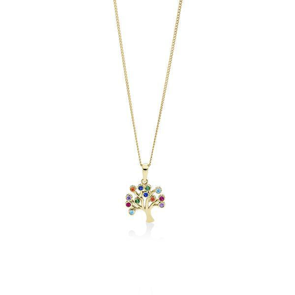 9Ct Yellow Gold Multi Coloured Cubic Zirconia Tree Of Life Pendant