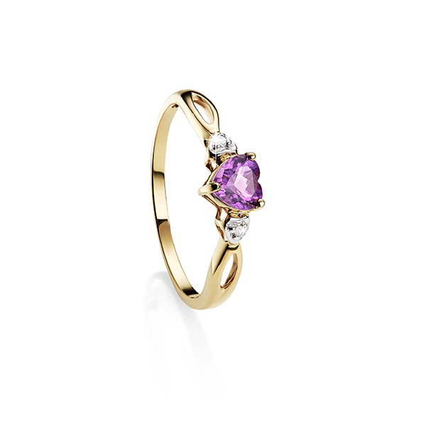 9Ct Yellow Gold Amethyst & Diamond Heart Ring
