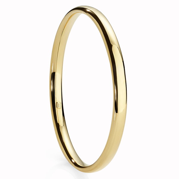 9Ct Yellow Gold Bonded Silver 6Mm Bangle