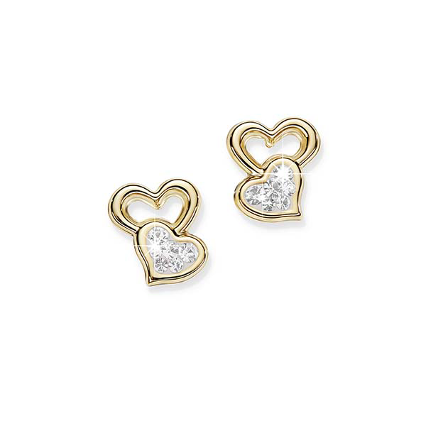 9Ct Yellow Gold Bonded Silver Crystal Stud Earrings