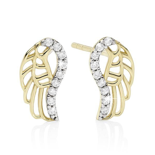 9Ct Yellow Gold Cubic Zirconia Angel Wing Studs