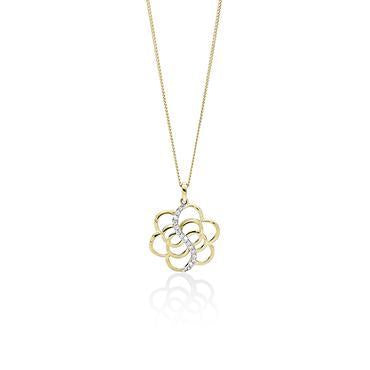 9Ct Yellow Gold Cubic Zirconia Flower Pendant