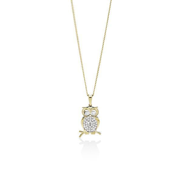 9Ct Yellow Gold Cubic Zirconia Owl Pendant