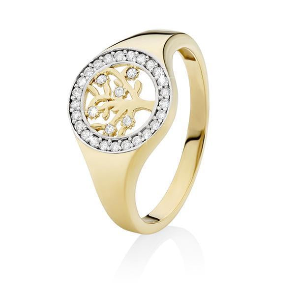 9Ct Yellow Gold Cubic Zirconia Tree Of Life Ring