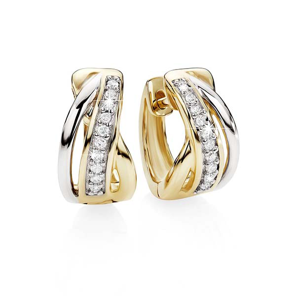 9Ct Two Tone GoldDiamond Set 3 Bar Cross Over Huggie Earrings