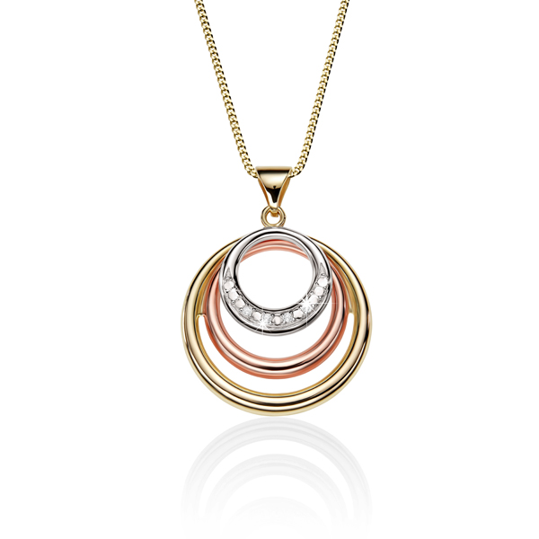 9Ct Rose, White & Yellow Gold Cubic Zirconia Circle Pendant