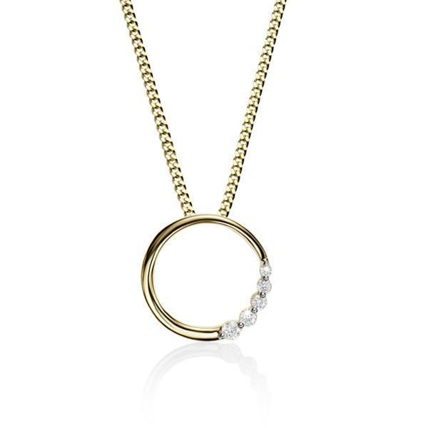 9Ct Yellow Gold 0.05Ct+ Diamond Circle Pendant
