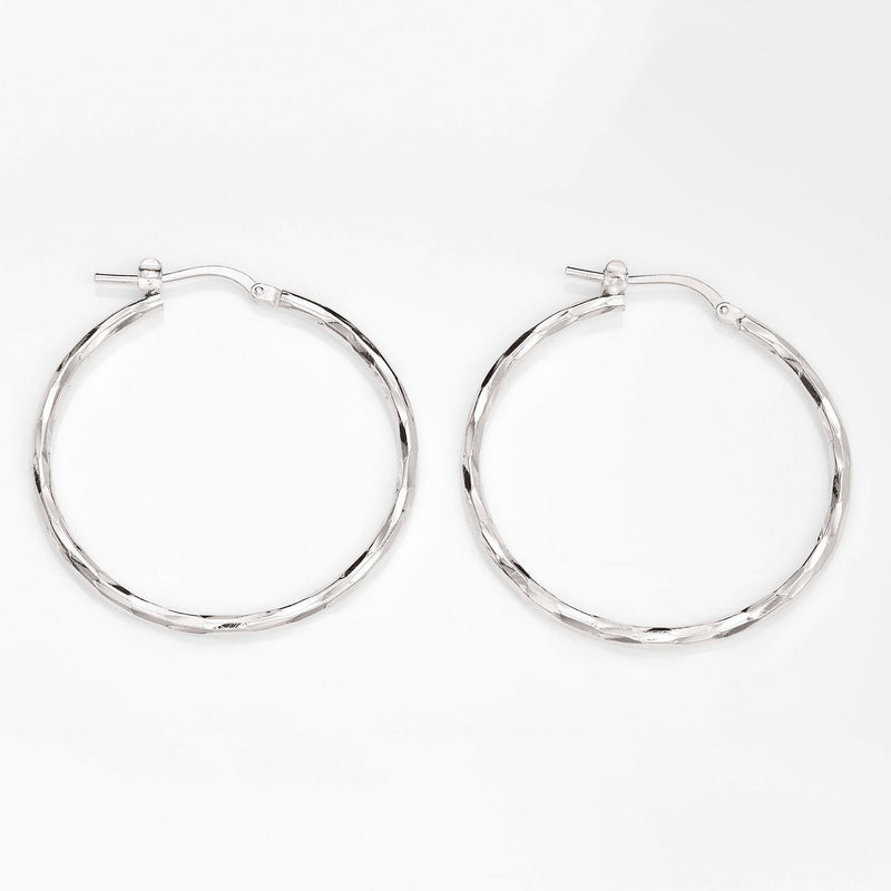 Sterling Silver 15mm Diamond Cut 15Mm Hoop Earrings