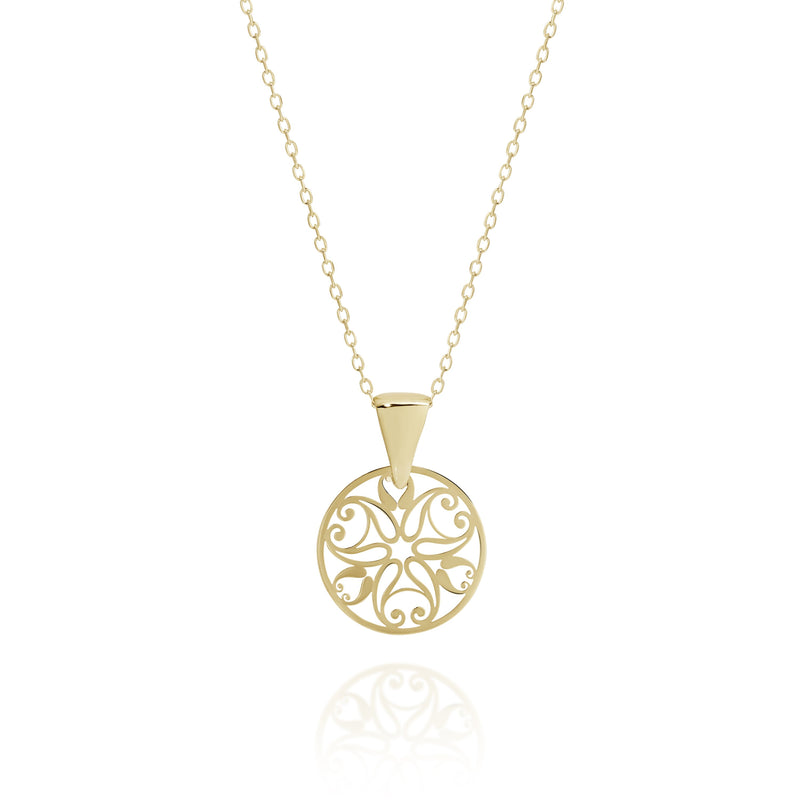 9Ct Yellow Gold Filigree Necklace 42Cm