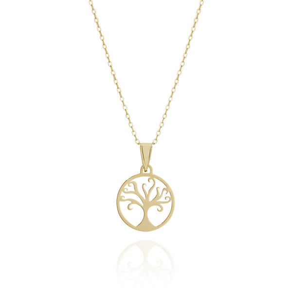 9Ct Yellow Gold Tree Of Life Necklace 42Cm