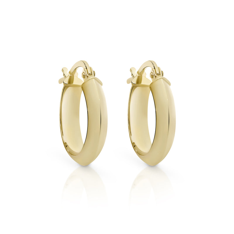 9Ct Yellow Gold Half Round 10Mm Hoop Earrings