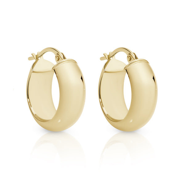 9Ct Yellow Gold Thick Dome 10Mm Hoop Earrings