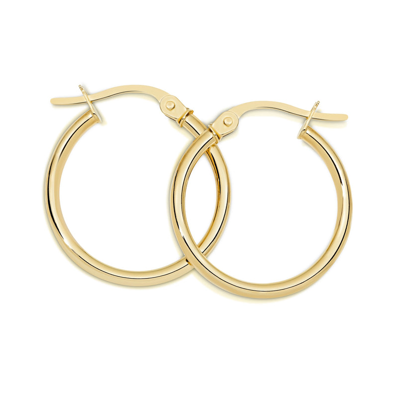 9Ct Yellow Gold Polished 15Mm Hoop Earrings