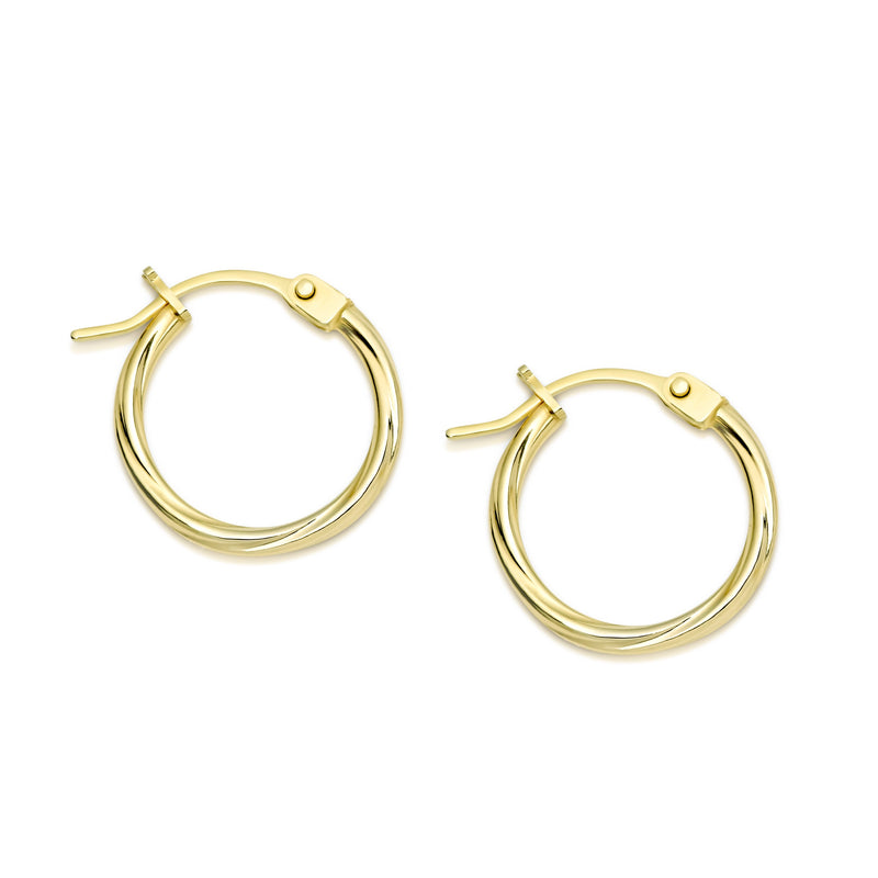9Ct Yellow Gold Twist 10Mm Hoop Earrings
