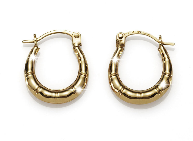 9Ct Yellow Gold Bamboo 10Mm Hoop Earrings
