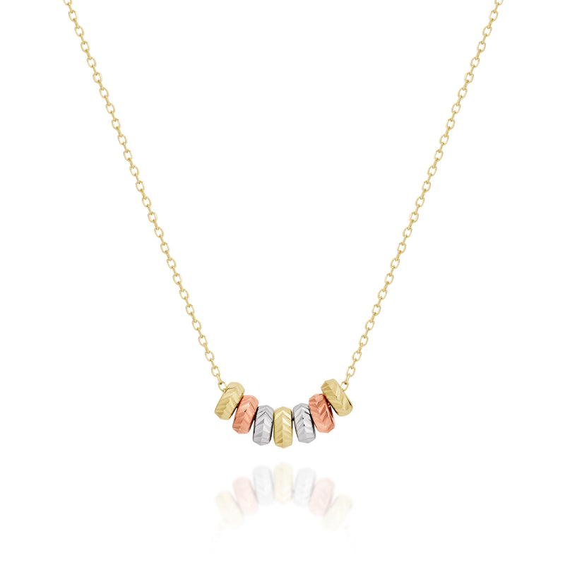 9Ct Tri Tone Gold 7 Lucky Rings Necklace 42Cm