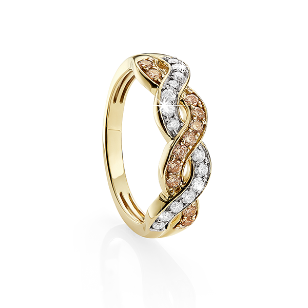 9Ct Yellow Gold 0.50Ct Australian Champagne Diamond Ring