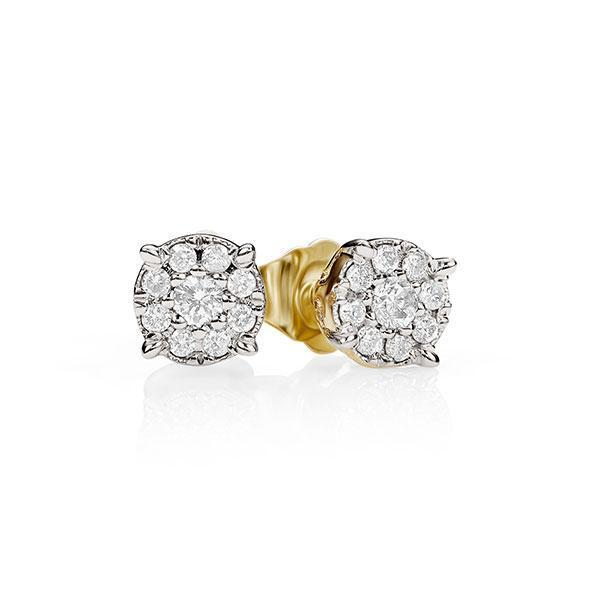 9Ct Yellow Gold 0.16Ct Diamond Stud Earrings