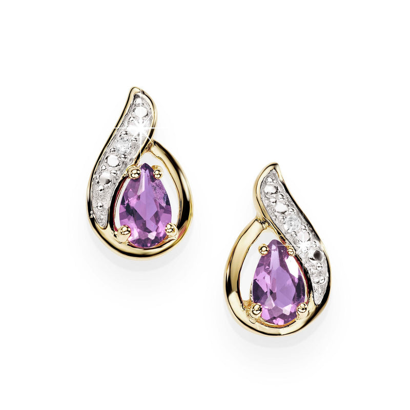 9Ct Yellow Gold Amethyst & Diamond Stud Earrings