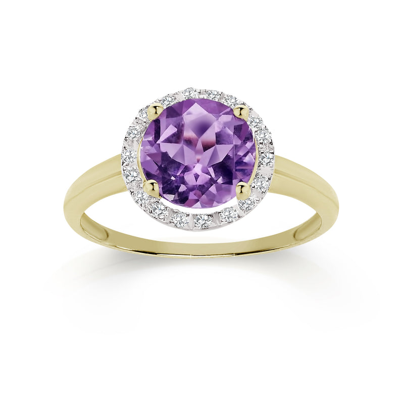 9Ct Yellow Gold Amethyst & Diamond Ring