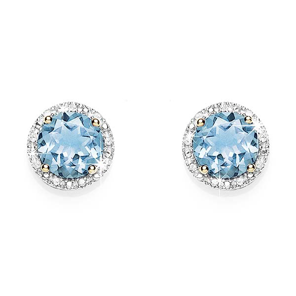 9Ct Yellow Gold Blue Topaz & Diamond Stud Earrings