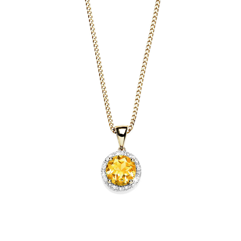 9Ct Yellow Gold Citrine & Diamond Pendant