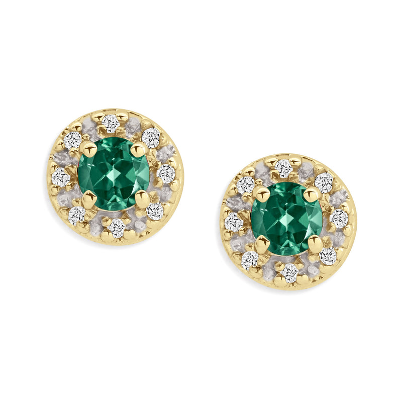 9Ct Yellow Gold Created Emerald & Diamond Stud Earrings