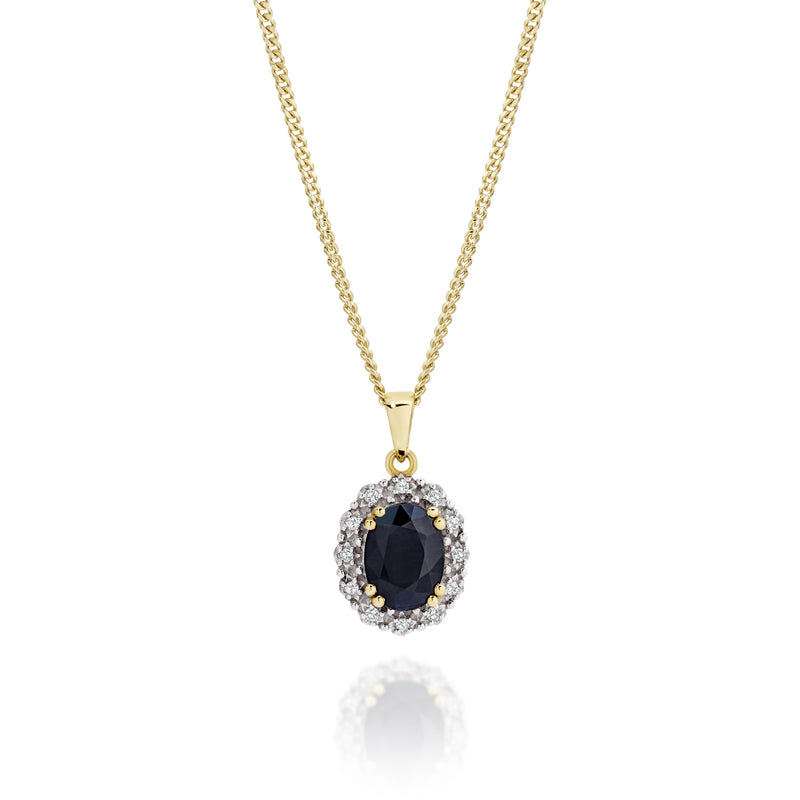 9Ct Yellow Gold Sapphire & Diamond Pendant
